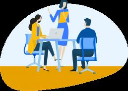 Illustration d'un conseil aux entreprises dans un bureau.